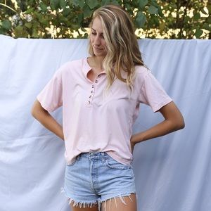 Vintage Pink Henley Top with Tortoise Buttons